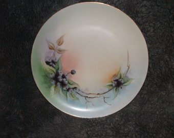 Antique, hand-painted, signed by artist, Haviland limoges French plate