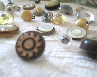 Vintage Button Collection, Mixed Metal, Stone, Glass