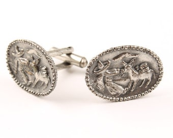 Vintage Cufflinks Donkey Burro Silver Tone Cuff Links Mens Jewelry