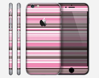 The Pink and Brown Fashion Stripes Skin for the Apple iPhone 6 or 6 Plus