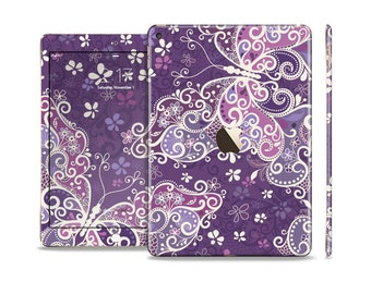 The Purple & White Butterfly Elegance Skin Set for the Apple iPad (All Models Available)