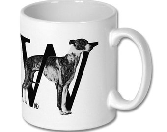 W for Whippet Dog Mug