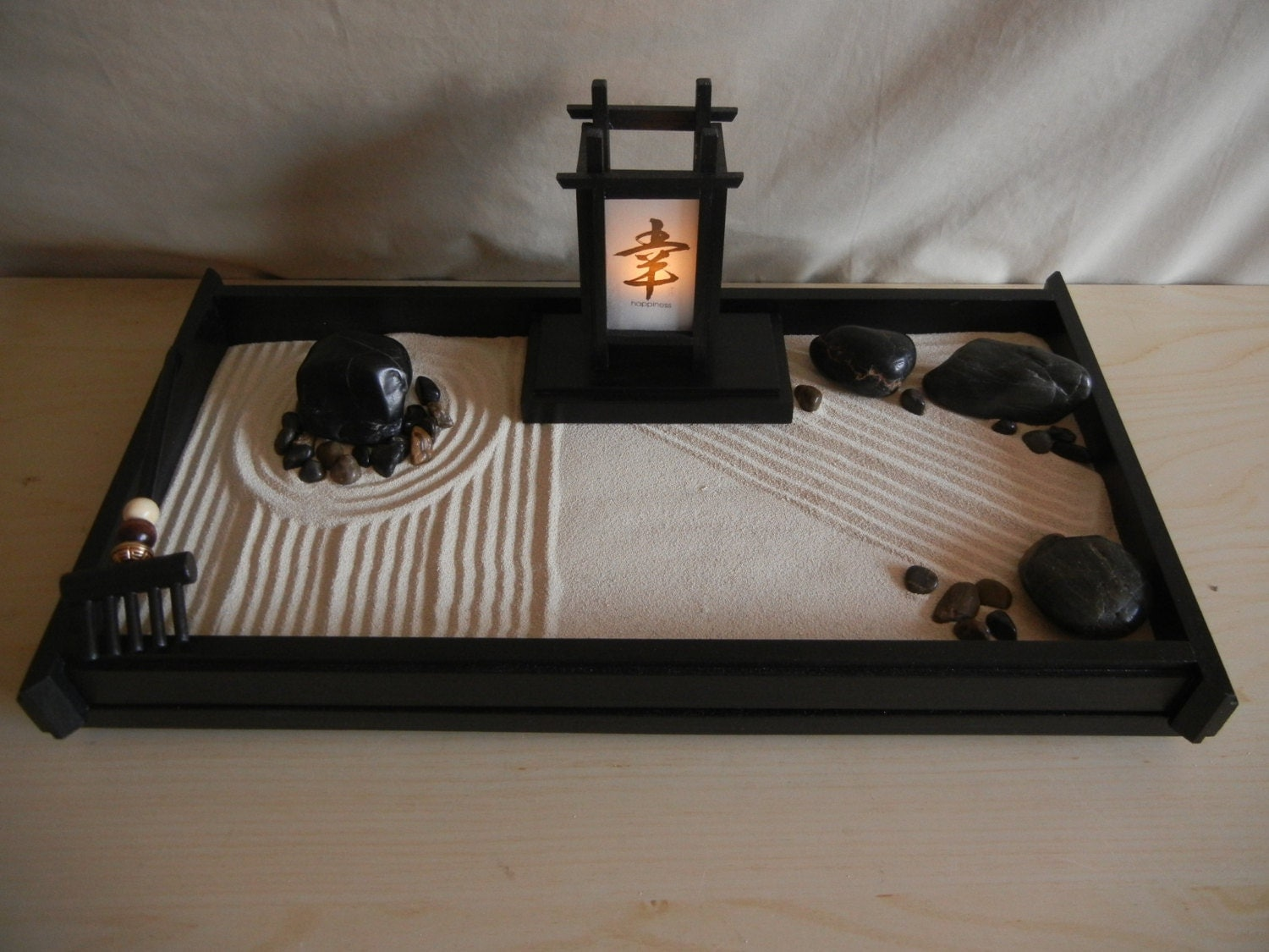 L 05 large desk or table top zen garden with japanese lantern for Table zen garden