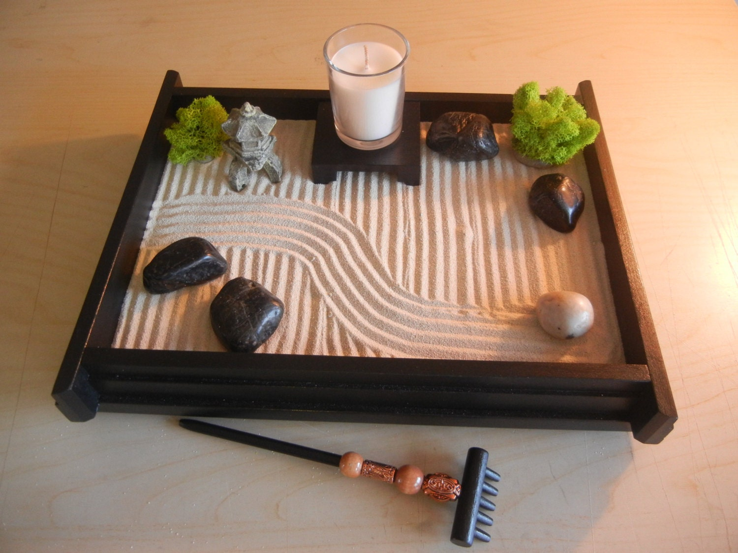 m deluxe medium desk top zen garden with mini by critterswoodworks. Black Bedroom Furniture Sets. Home Design Ideas