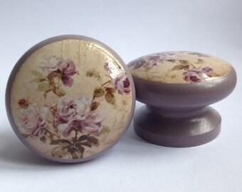 Lilac Rose Door Knob, Dresser Knob, Pull, Handle