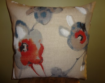 Decorative Pillow Cover Abstract Floral Linen Pattern Beige Red Gray White Blue DOUBLE SIDED Toss Pillow Accent Pillow Throw Pillow