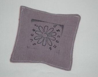 Handstamped Sweet Dreams Flower Lavender Bag
