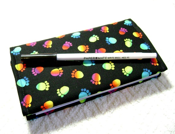 Fabric Checkbook Cover : Footprints checkbook cover fabric covers