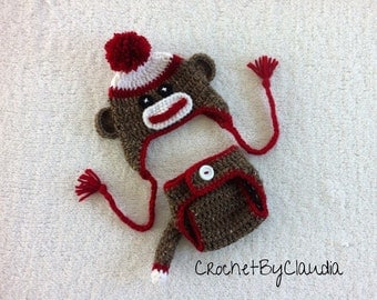 Crochet Baby Boy Sock Monkey Beanie and Diaper Cover With Tail Photo Prop Set/ Sock Monkey/ Made to Order