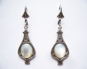 Silver Victorian Earrings Mother of Pearl Leverback FREE SHIP USA
