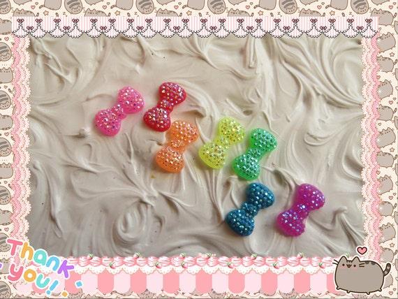 0: )- CABOCHON -( Rainbow Glitter Bows KAWAII lot of 14 2 each color