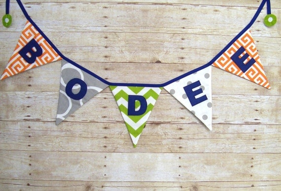 Name Banner , Personalized , Fabric Bunting , Nursery decor , Baby Shower decoration , Triangle Banner , Name Bunting - Name sign - word