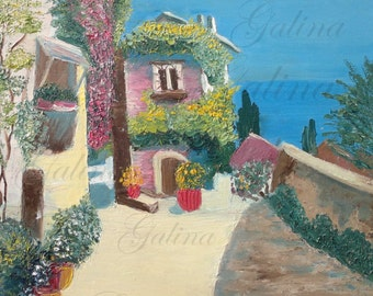 Mediterranean Summer Landscape' Oil Painting Wall Decor