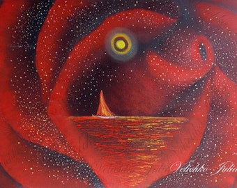 Original Oil Painting 'Love Is Like A Dream'                              Original Oil painting, A Red Rose With Ocean Image
