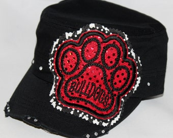 Custom BULLDOGS paw print embroidery applique black military hat. Embellished with lots of sparkly rhinestones.