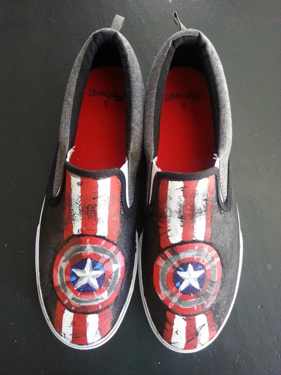 mens painted captain america slip on shoes size 10
