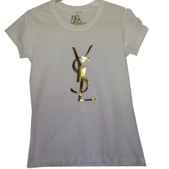 Cotton ysl logo white tshirt for Ysl logo tee shirt