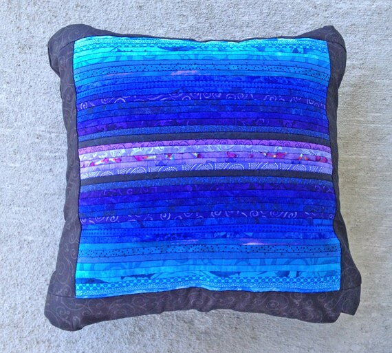 Quilted throw pillow. Blue accent pillow. Pieced by AnnBrauer