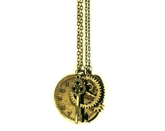 Vintage Style Bronze Tone Necklace with Pendant Clock parts with Key