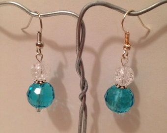 Teal and Clear Beaded Dangle