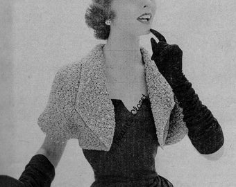Dressy Shoulderette, Shrug Wrap, Vintage Knitting Pattern, INSTANT DOWNLOAD PDF