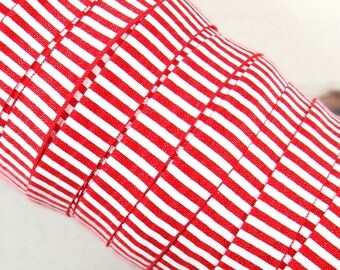 """Red with White Stripes 5/8"""" Fold Over Elastic 1, 3 or 5 yards"""