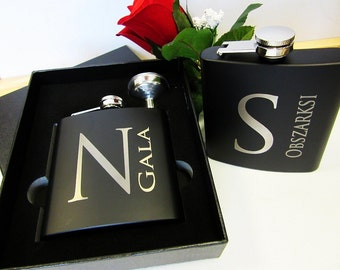 Groomsmen Gift Set of 7 Personalized Matte Black Flask Best Man Groomsman Flasks Father of the Groom Wedding Party Usher Gift