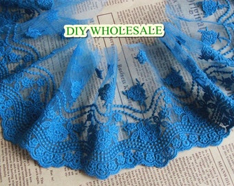11cm Embroidery  tulle lace trim bule  mesh embroidery lace trim ribbon 2 yards