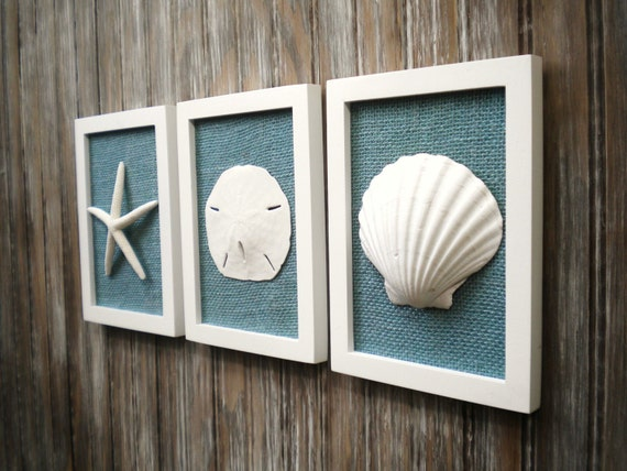 Cottage Chic Set Of Beach Wall Art Sea Shells Home Decor Beach House