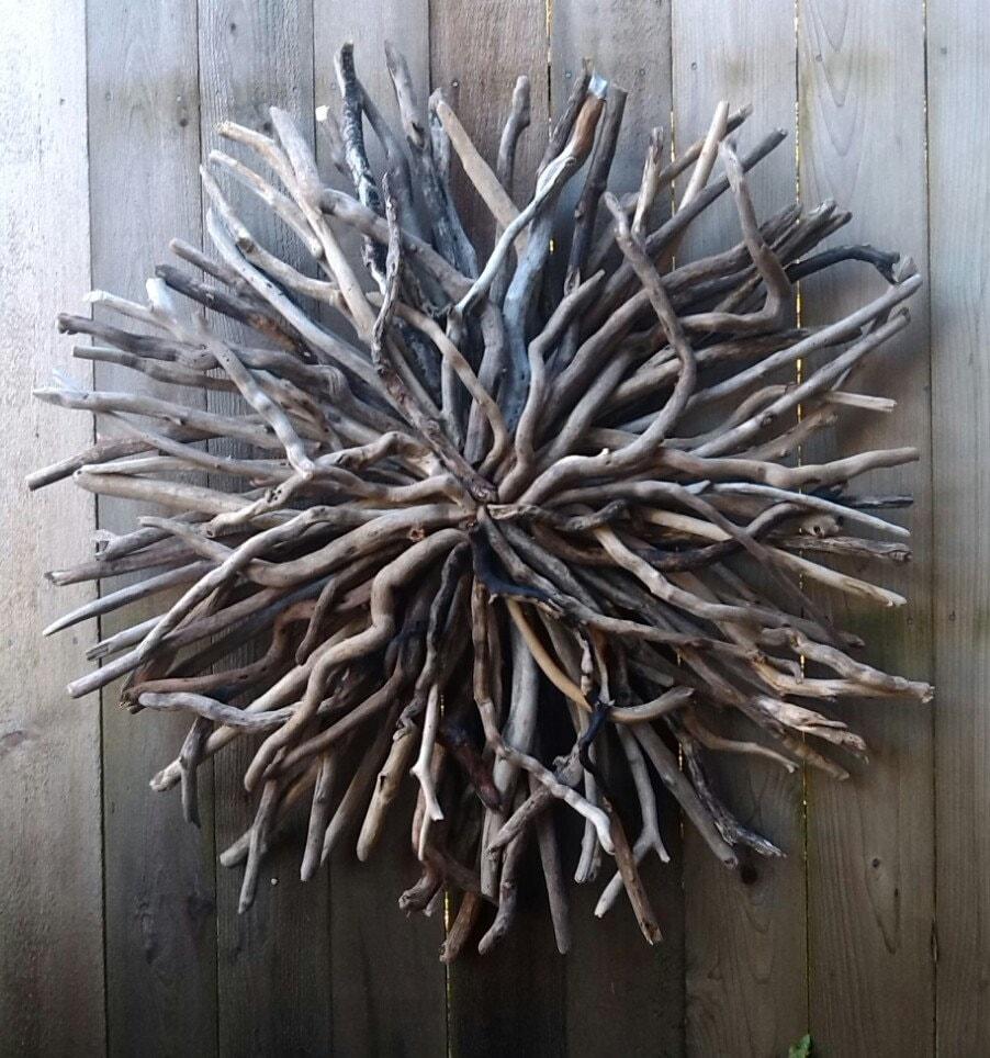 Driftwood sun wall sculpture hand made driftwood art outdoor for Driftwood wall