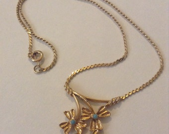 Vintage Gold Plated 1960's Floral Swag Necklace Set with Imitation Turquoise