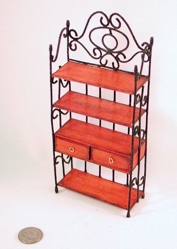 ooak wood and wrought iron baker 39 s rack 2 by auntelliesminiatures. Black Bedroom Furniture Sets. Home Design Ideas