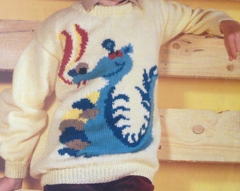 dragon sweater knitting pattern for children men and women intarsia chart picture jumper in dk yarn