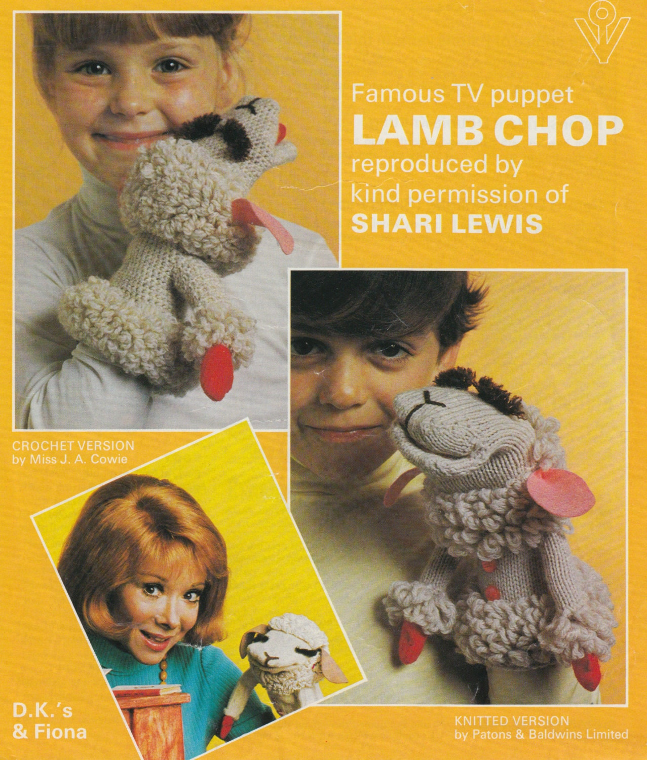 vintage toy knit and crochet pattern lamb chop hand puppet