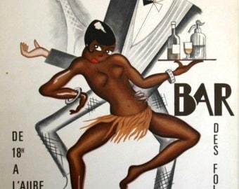 "Josephine Baker ""Bar Folies Africaines Jazz cabaret"" art print poster"