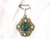 Vintage Victorian pendant on chain 60-s St.Patrick's Day gift