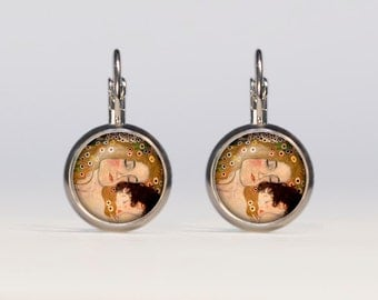 Mother and child earrings 16mm Mother and child Jewelry french earrings dangle earrings Gustav Klimt