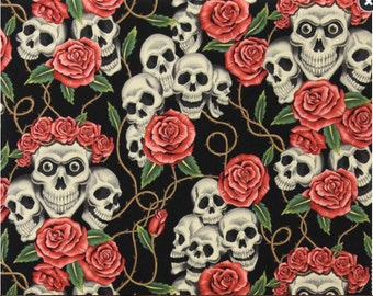 The Rose Tattoo (skulls & roses) in Black Tea Alexander Henry De Leon Design Group By the Yard