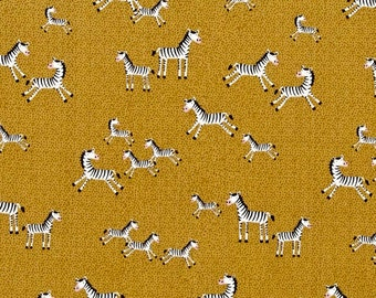 Mini Zebras - Timeless Treasures Fabric  by the yard Zebras Gold background