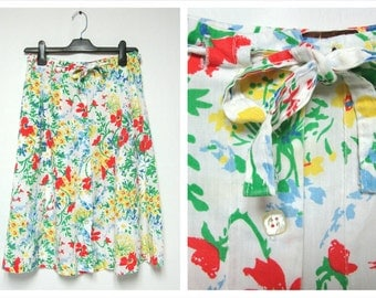 ON SALE 1960's Floral Skirt Twirl Skirt Spring Skirt Colorful Bright Flowers Size Small Flowy Midi