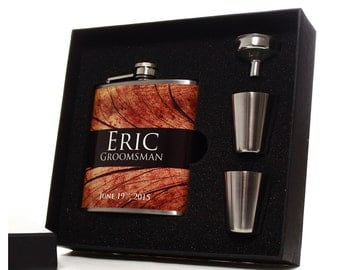 Personalized Flasks, Set of 9, Gifts for Groomsmen