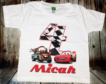 Personalized Cars Birthday T Shirt - lightning mcqueen, tow mater, radiator springs, disney, race, sally
