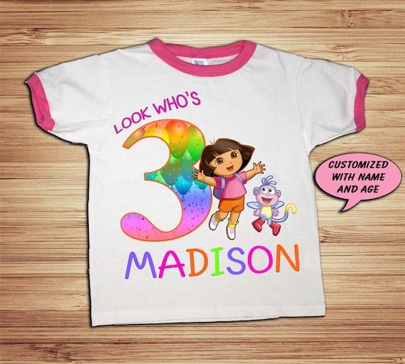 Dora The Explorer Pink Ringer T Shirt Personalized -