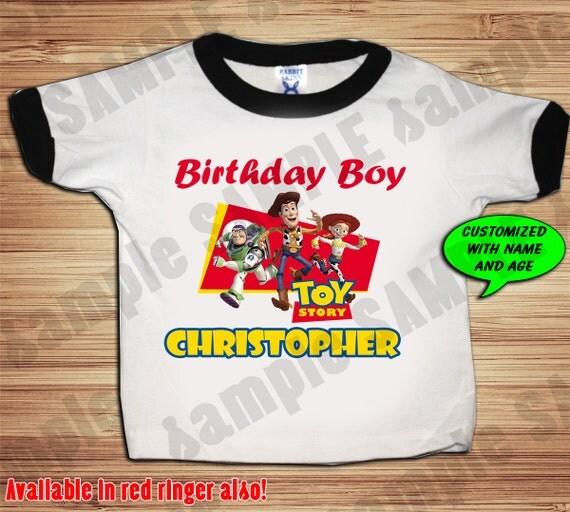 Toy Story Buzz Lightyear Birthday Black or Red Ringer T Shirt - Personalized Custom -  Woody, Buzz Lightyear, Jessie