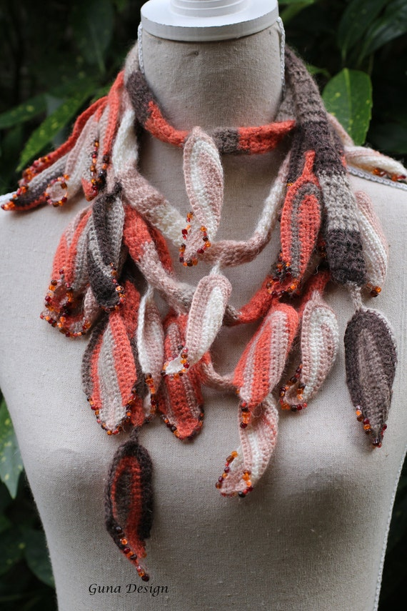 Crochet scarf lariat necklace from crochet leaves with beads-  Autumn Leaves by gunadesign