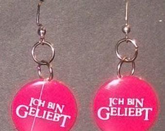 """Earring """" I AM LOVED"""" in GERMAN"""