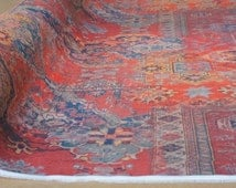 Rug Oriental Material Orange Red Brown Printed Textile Sold by Meter Designers Fabric