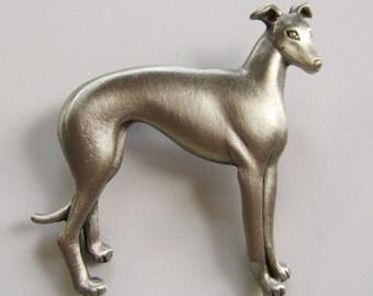 JJ Jonette Silver Pewter Greyhound Dog Brooch Pin