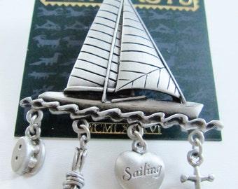 Large JJ Jonette Sailing Sailboat with Dangling Nautical Charms