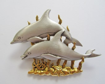 JJ Jonette Two Playful Dolphins Swimming In Seaweed Brooch Pin